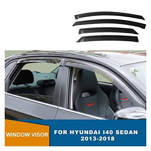 LZLWL Windabweiser Seitenfenster-Deflektoren Black Visor Sun Rain Guards Weathershield für Hyundai I40 Sedan 2013 2014 2015 2016 2017 2018 Hintere Windabweiser