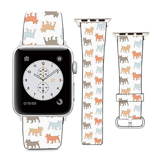 Compatible with Apple Watch Wristband 42mm 44mm, (French Bulldog Pattern) PU Leather Band Replacement Strap for iWatch Series 5 4 3 2 1