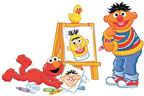 9 Inch Ernie Elmo Artists Decal Crayon Art Drawing Sesame Street Removable Wall Sticker Peel Self Stick Adhesive Art Home Kids Room Decor Vinyl Decoration Nursery Boys Girls 9 by 6 inch