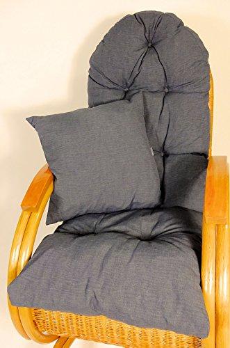 Rattani Auflage/Polster für Schaukelstuhl, Liegestuhl, Ersatzpolster Gr. 130 x 50 x 12 cm, Fb. anthrazit + Zierkissen 40 x 40 cm