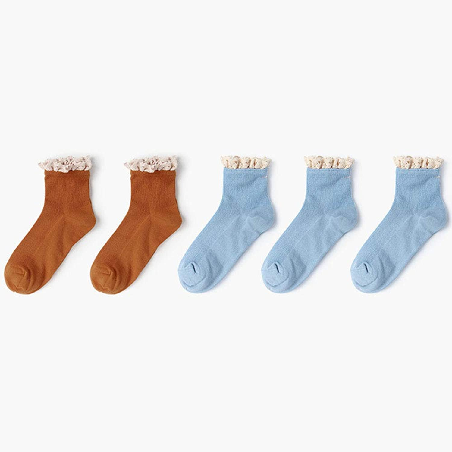 Socks 5 Pairs of Women's Vintage Lace Lace Socks Knit Sports Comfortable Sweet (color   C)