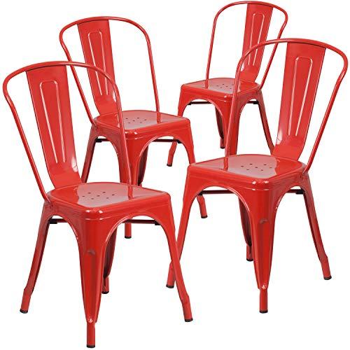 Flash Furniture Commercial Grade 4 Pack Red Metal Indoor-Outdoor Stackable Chair