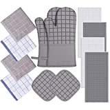 Oven Mitts and Pot Holders Set with Kitchen Towels and Dishcloths,500℉ Heat Resistant Oven Gloves and Hot Pads,Premium Soft Cotton Kitchen Hand Towels and Dish Cloth Sets with Hanging Loop-Gray