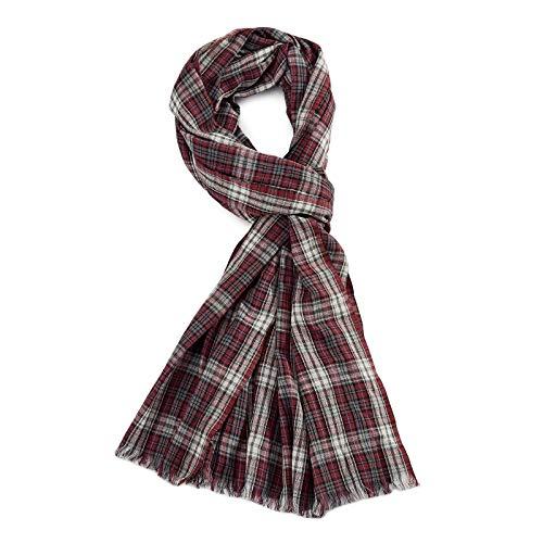 ROYALZ Schal für Herren kariert klassisch 100% Baumwolle Herrenschal weich leicht dünn Karo Muster oder gestreift Halstuch ganzjährig Accessoires mehrfarbig, Farbe:Kariert Rot/Weiß/Grau