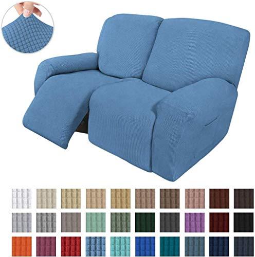 AXAA 6 Piezas de sofá elástico reclinable de 2 plazas, Funda para sofá, Funda Protectora para Muebles, Suave con Fondo elástico para niños, Tela de Licra y Jacquard, Cuadros pequeños (Azul polvor