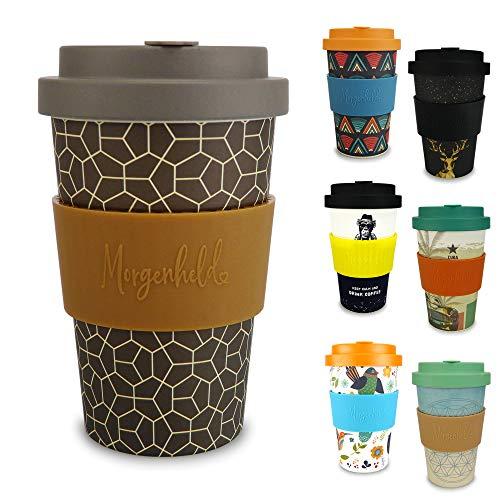 Morgenheld Dein trendiger Bambusbecher | Coffee-to-Go-Becher | Kaffeebecher mit Schraubdeckel und Banderole in coolem Design 400 ml (Brownie)