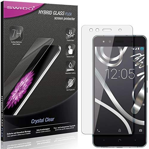 SWIDO Panzerglas Schutzfolie kompatibel mit BQ Aquaris X5 Cyanogen Edition Bildschirmschutz-Folie & Glas = biegsames HYBRIDGLAS, splitterfrei, Anti-Fingerprint KLAR - HD-Clear