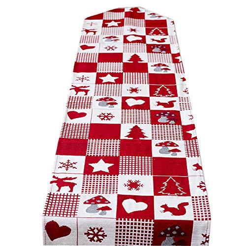 Ouken Decoración Mantel Bandera Tabla Bandera 1pc Vector de la Navidad de Lino Impresa Letra del Partido del Festival de Navidad Camino de Mesa Mat (Elk Tela Escocesa): Amazon.es: Hogar