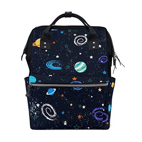 Sac à langer grande capacité, sac à dos à langer maman pour soins de bébé, joli dessin animé à la main galaxy star élégant multifonction étanche sac à dos de voyage élégant pour maman et papa