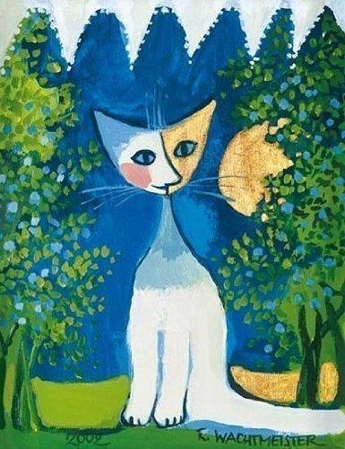 Leinwand-Bild - Rosina Wachtmeister: Looking out the Window 24 x 30 cm Katze mit Ausblick blau grün