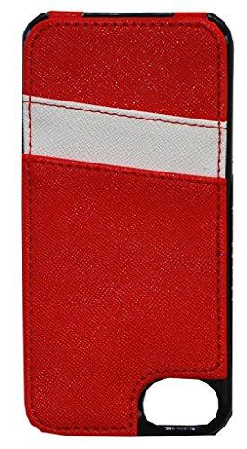 K. Carroll Capa protetora estilo seguro RFID com capa de cartão de crédito para iPhone, Red/White, iPhone 6+/7+/8+