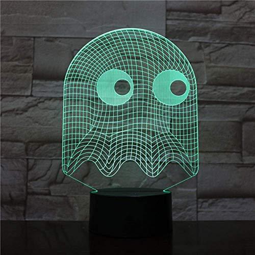 Juego Pac Man Light Table 3D Luz de noche Decoración de dormitorio Light Illusion Juego de bebé para niños Shiny Dark Ghost Pac Man Led Touch Control remoto Luz de control remoto