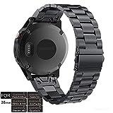 YOOSIDE - Correa de Repuesto para Reloj Garmin Fenix 5X, 26 mm, de Acero Inoxidable, de Ajuste rápido, para Garmin Fenix 5X Plus/Fenix 3/Quatix 3/Tactix Charlie, Color Negro