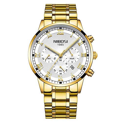 Relojes Hombre Cronógrafo Reloj de Pulsera Calendario Números Romanos con Correa de Acero Inoxidable, Oro Blanco