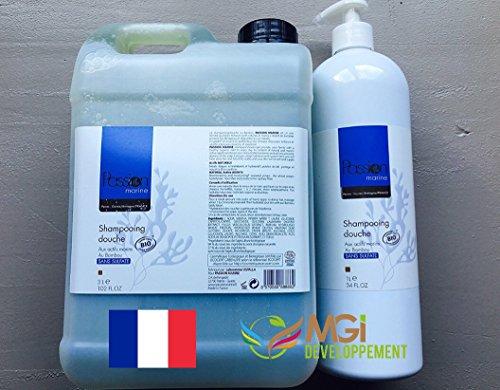 4 litres de shampoing/douche biologique sans sulfates aux actifs marins de fabrication artisanale bretonne. Parfum bambou.