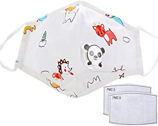 Reusable Cotton Fabric Fashion Washable Protective for Children Kids Cute Cartoon Valves Mouth Shield with 2 Replacement F...