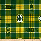 NFL Green Bay Packers Plaid Fleece Green/Yellow, Fabric by the Yard
