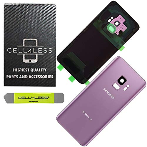 CELL4LESS Compatible Back Glass Cover Back Door w/Pre-Installed Camera Frame l Adhesive - Removal Tool - Camera Lens & Frame for Samsung Galaxy S9 OEM - All Models G960 All Carriers (Purple)