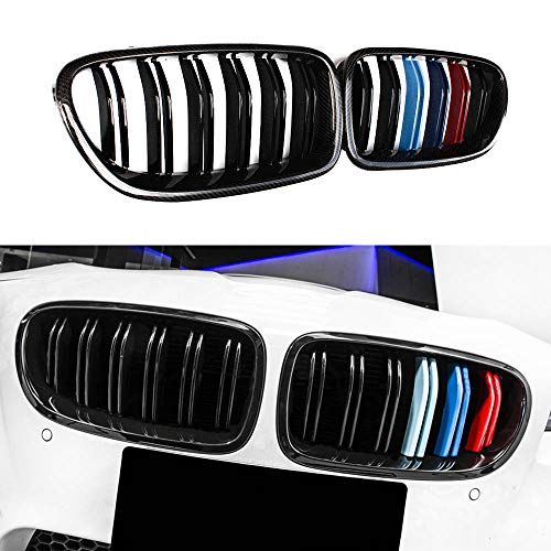 A Pair 5 Series F10 M5 Style Carbon Fiber M Color Front Kidney Grille Grill For BMW F10 520i 523i 525i 530i 535i 2010+