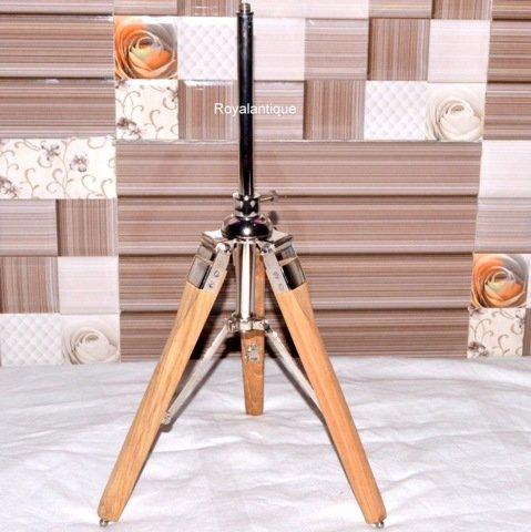 Collectibles Wood Aluminum Tripod Office Desk Table Lamp Teak Wood Best Stand