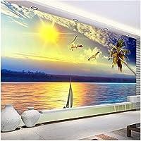 Lcymt 壁画の壁紙 夕日海景壁紙リビングルームソファーベッドルーム壁の装飾壁画-400X280Cm