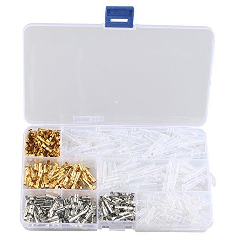 HALJIA 100 Sets Rundsteckverbinder 3,9 mm Stecker und Buchse für Motorrad, Auto, LKW, Bullet Terminals, Drahtverbinder mit Isolierabdeckungen Sortiment