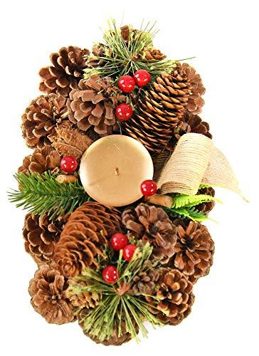 Home-X Weihnachtskranz aus Tannenzapfen, künstlicher Adventskranz, ovale Adventsfeier, Winterdekoration (25,4 x 15,2 cm)