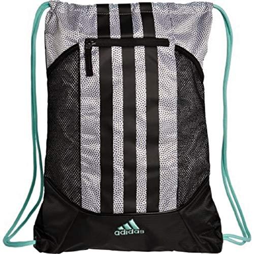 adidas Fat Stripes II Sack Pack, One Size (White Grip/Black/Energy Aqua)
