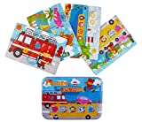 Jigsaw Puzzles for Kids, 4-Pack 4 Complexities Wooden Travel Children Puzzles with an Iron Box, Best Gifts for...