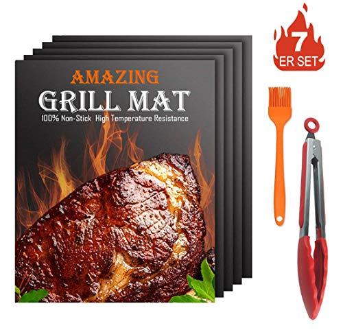 Cool Design BBQ Grillmatte, Matten mit Antihaftbeschichtung für Holzkohle Gasgrill & Backofen Wiederverwendbar (5 Matten +1 Pinsel + 12