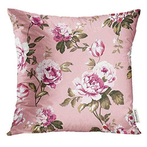 Throw Pillow Case Funda de Almohada para Cojín 45x45cm Azul Resumen Shabby Chic Vintage Rosas Tulipanes y Forget Me Nots Trama Floral clásica Colorida