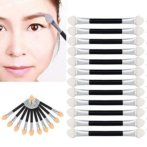 EUCoo 12pcs pinceaux pour ombre à paupières des yeux Pinceau ,double face,pointe applicateur de maquillage ovale,cadeau femme (Black)