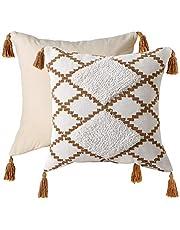 LOMOHOO 45 cm x 45 cm örngott dekorativa kuddöverdrag för bäddsoffa, bomull fyrkantigt örngott med tofsar boho kudde för vardagsrum sovrum, 45 x 45 cm (18 x 18 inch) (kaffe (1 st)