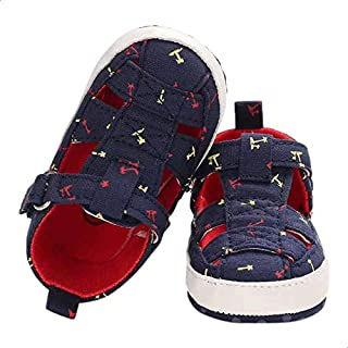Mix and Max Pull-Tab Anchor-Pattern High-Top Velcro-Strap Sandals for Boys 9-12 Months