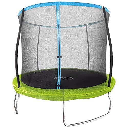 Aktive 54084 - Cama elástica infantil exterior, Colchoneta para niños para saltar, medidas 305x250 cm, peso máx 100 kg, +6 años, con red de seguridad, certificación CE, Aktive Sports