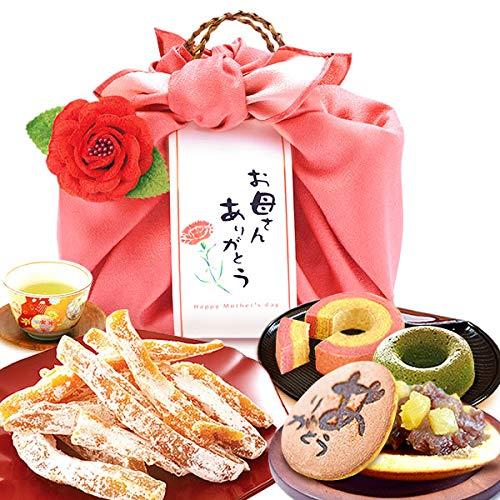 母の日 の プレゼント おいもやどら焼き 和菓子 洋菓子 ギフトセット 母の日ギフト スイーツセット (ピンク風呂敷・編み籠入り)