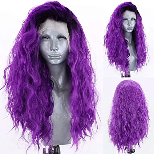 RONGDUOYI Loose Wave Ombre Purple Lace Front Wigs for Women Girls 13x4 Free Part Pre Plucked Natural Hairline Synthetic Wig Dark Roots Purple Curly Cosplay Wigs 24 Inches,150% Density