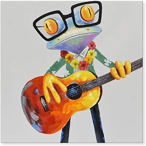 Malen nach Zahlen Frosch mit Gitarre - DIY Malen nach Zahlen für Erwachsene - Set für Anfänger inklusive vorgedruckter Leinwand, 3 Pinseln und bunten Acrylfarben