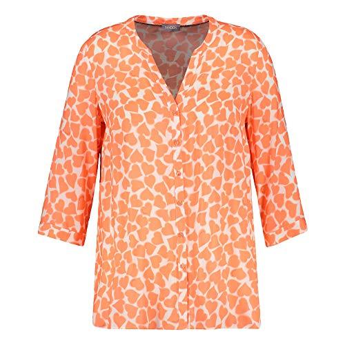 Samoon Damen Bluse mit Herzen EcoVero ausgestellt Fusion Coral Gemustert 50