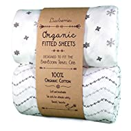Luvberries 100% Organic Cotton Crib Sheets (Set of 2) for The Baby Bjorn Travel Crib, Baby and Toddler, Fitted Crib Sheets, for Boys & Girls (Grey and White)