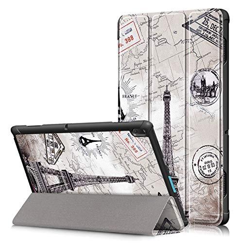 Shinyzone Tablet Hülle Kompatibel mit Lenovo Tab E10 10.1 Zoll TB-X104F,Leder Trifold Ständer Schutzhülle mit Auto Aufwachen/Schlaf,Magnetisch Befestigung mit Kantenschutz,Eiffelturm