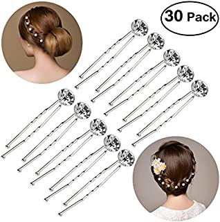 Pixnor 30pcs Bridal Clear Crystal Rhinestone Hair Pins Clips Decorative Wedding Flower for Women