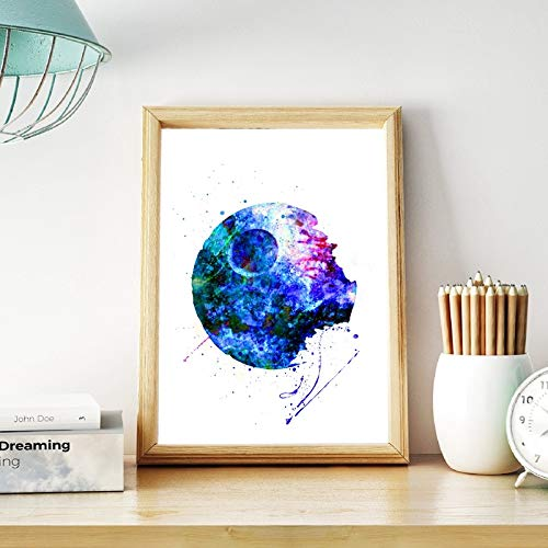 Todesstern Kunstplakat Jungen Zimmer Wandkunst Dekor Geschenk Ihm Aquarell Kunst Leinwand Malerei Bild Kinder Dekorationen 20x25CM
