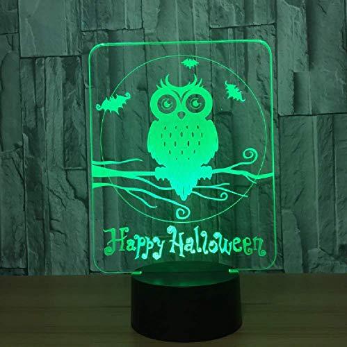 Novedad Animal Búho 3D Interruptor Táctil De Luz Nocturna 7 Colores Cambio Led Usb Lámpara De Mesa De Escritorio Decoración De Fiesta De Halloween Para Regalo De Amigo