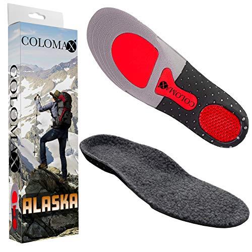 COLOMAX Alaska - Plantillas ortopédicas de invierno cálidas, color blanco o gris, color Gris, talla 47-50
