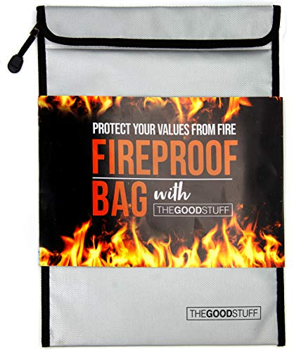 The Good Stuff Fireproof Document Bags (2000℉), Protect Important Documents, Fireproof Bags (Extra Strength), Waterproof and Fireproof Document Bag, Fire Safe Bags, Keep Your Documents Safe (Legal)