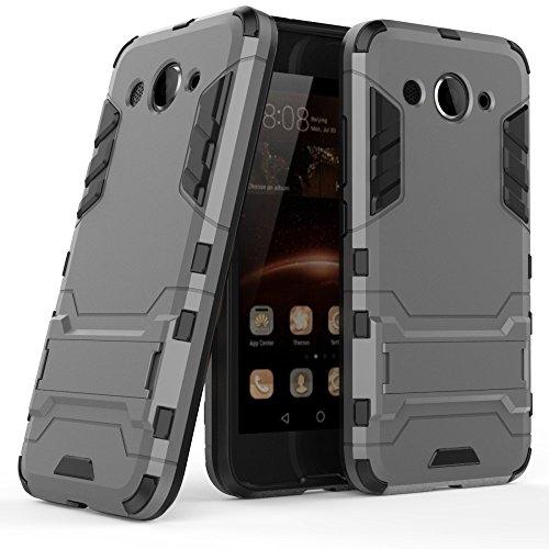 MYCASE Schutz Hülle Hülle für Huawei Y3 (2017)   Grau   Hard Cover mit Kickstand   Plastik Silikon Kunststoff TPU Schale Bumper Tasche Schutzhülle Handy Hülle