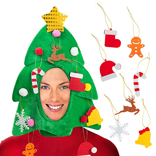 DomeStar Christmas Tree Hat with 7PCS Ornaments, Funny Christmas Hat, Novelty Santa Hat Holiday Theme Hat