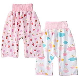 腹巻付おねしょ対策ケット 2枚入 ズボンタイプ おねしょ対策 ズボン 防水 通気 天然綿100% 女の子 50~60cm 長さ55cm 3-5歳 ピンク いちご+雲 ピンク