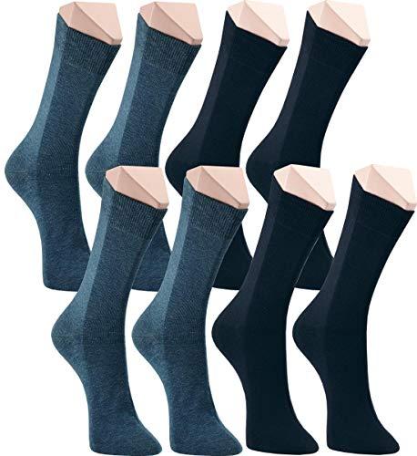 world wide sox | Socken & Strümpfe für Herren | Baumwolle elastisch ohne Gummidruck | 8 Paar | jeans, marine, dunkel jeans, schwarz | 39-42